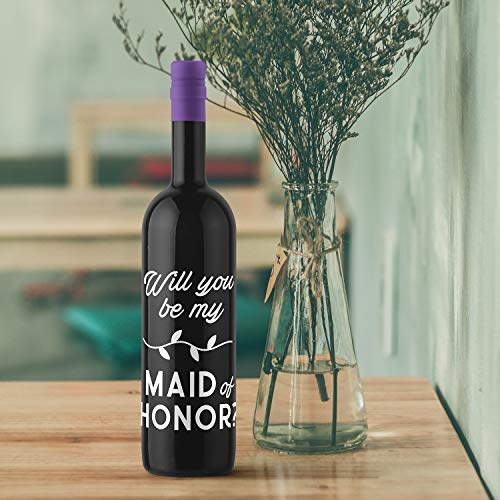 Thank You Wine Bottle Vinyl Sticker Decal - Will You Be My Maid of Honor - 5