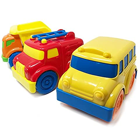 BOLEY Trucks and Cars Set for Toddlers - Educational Toddler Vehicle Playset with Dump Truck, Fire Truck and School Bus. The perfect birthday gift set and party pack for boys and - Rc Little Rides Vehicle