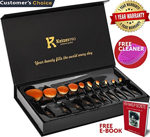 Makeup Brushes Professional – KeizerPro 10 Piece Set of NEW Pro Oval Makeup Brushes + Free Silicone Cleaner and MakeUp Book – Full Gift Box Set with Holder for Perfect and Easy Makeup Even at Home