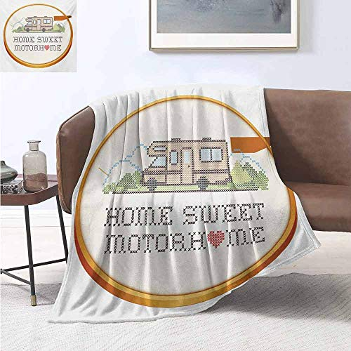 jecycleus Home Sweet Home Bedding Microfiber Blanket Embroidery Hoop Cross Stitch Needlework Sewing Design Trailer Home Print Super Soft and Comfortable Luxury Bed Blanket W60 by L50 Inch Multicolor