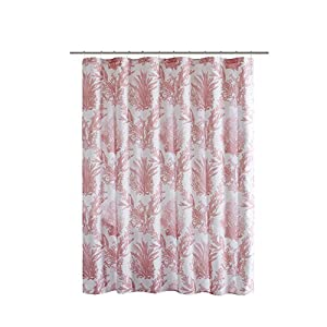 Comfort Spaces Water-Repellent Shower Curtain – Printed - Sea Coral Blush Shower Curtain – Red Coral Design on White – 72 x 72 inches by