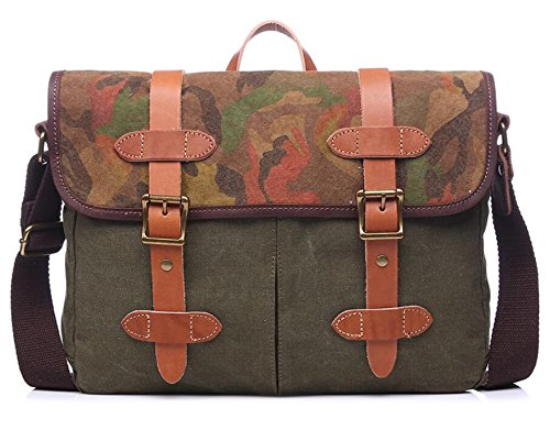 men Zhangor school work Outdoor Computer Bag Briefcase Vintage Canvas Shoulder Green And Women qnqWzgBAw