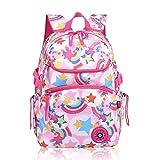 Toeoe Child Girls Colorful Style School Backpacks Primary Middle Student Daypack Waterproof Rucksack (C style Rainbow Pink)
