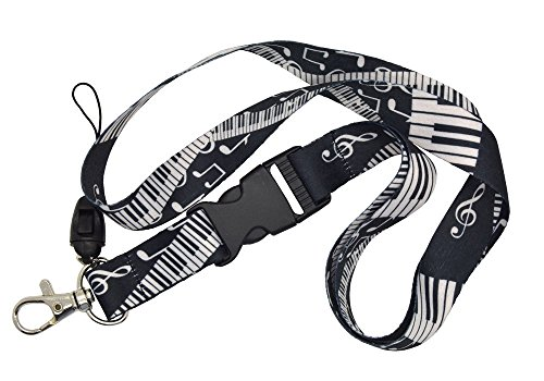Music Note and Piano Keys Lanyard Keychain Cellphone Holder