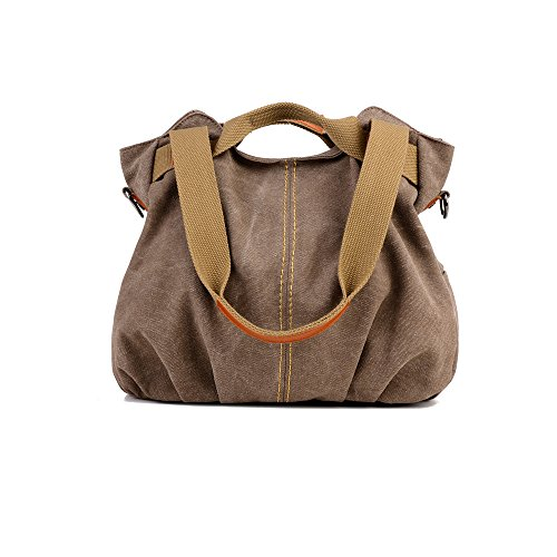 (Women Bags Casual Vintage Hobo Canvas Mulit-Pocket Daily Purse Top Handle Shoulder Tote Shopper Handbags)
