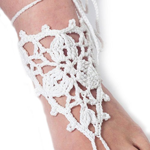 EcoGG Crochet Barefoot Sandals Summer Shoes Foot Jewelry Nude Shoes Beach Wedding Crochet Anklet Belly Dance (White)