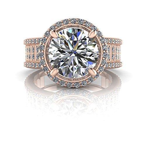 Amazon com: Halo Moissanite Ring, Forever One Moissanite
