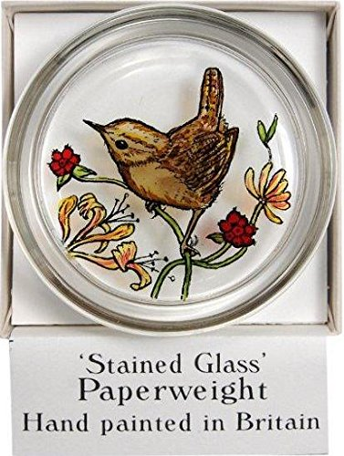 Decorative Hand Painted Stained Glass Paperweight in a Single Wren Design
