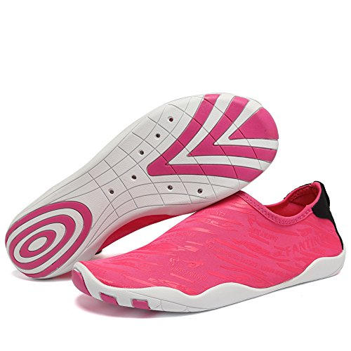 FANTINY Men and Women's Barefoot Quick-Dry Water Sports Aqua Shoes with 14 Drainage Holes for Swim, Walking, Yoga, Lake, Beach, Garden, Park, Driving, Boating,SVD,Rose.red,42 0