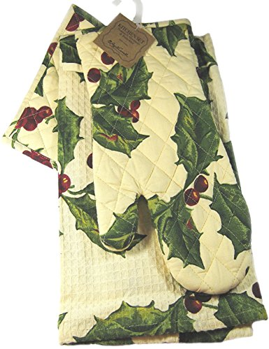 April Cornell 3-piece Kitchen Linen Set ~ Oven Mitt, Potholder, and Towel ~ Christmas Holly and Berries