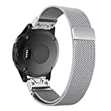 Yooside For Garmin Fenix 5S 20mm Watch Band Magnetic Adsorption Replacement Belt Milanese Loop Stainless Belt with Quick Fit (silver)