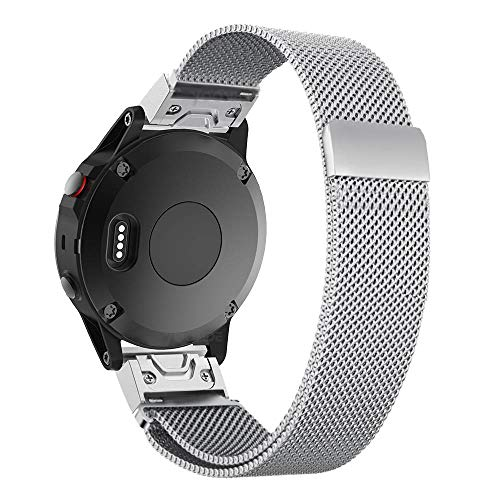 Yooside For Garmin Fenix 5S 20mm Watch Band Magnetic Adsorption Replacement Belt Milanese Loop Stainless Belt with Quick Fit (silver) by Yooside