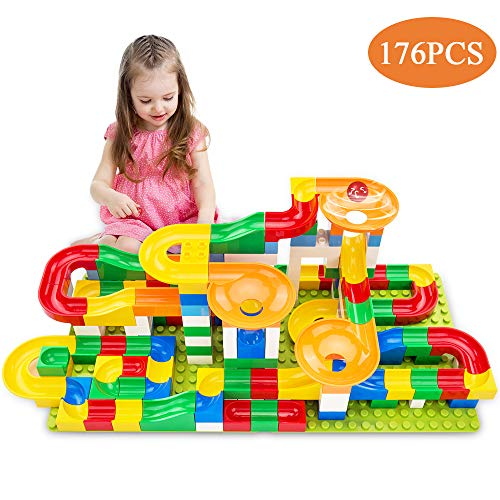 TEMI 176 PCS Marble Run Super Sets for Kids | Marble Race Track for 3+ Year Old Boys and Girls | Marble Roller Coaster Building Block Construction Toys | Puzzle Maze Building Set with 6 Marbles Balls