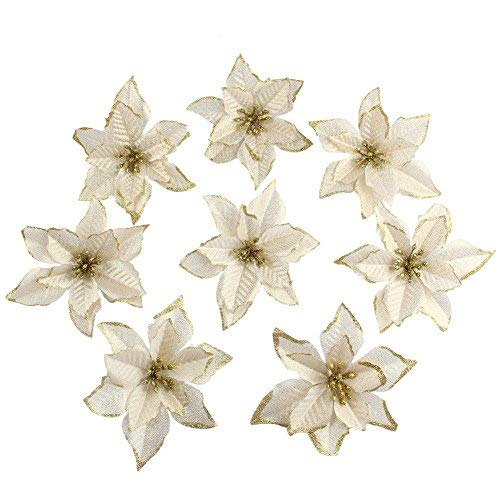 OurWarm 50pcs Glitter Poinsettia Christmas Tree Ornaments Poinsettia Artificial Flowers for Christmas Decorations Gold]()