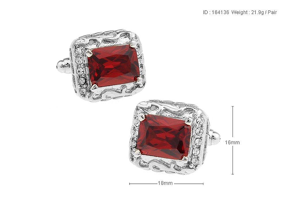 Mens Executive Cufflinks Designer Kenneth Fox Alluring Candy Red Center Crystal Cuff Links