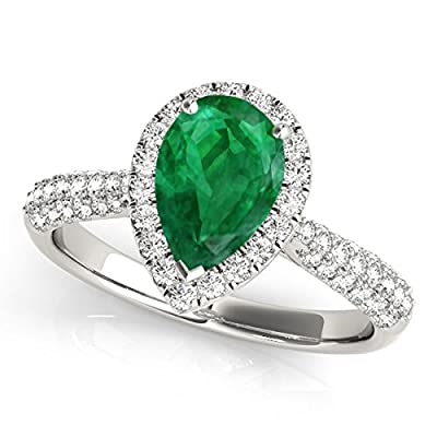 1 Ct. Ttw Diamond And Pear Shaped Emerald Ring In 10K White Gold from MauliJewels