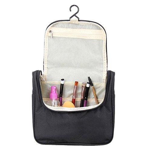La cabina - Bolsa de aseo impermeable almacenamiento bolsa Cosmética de embrague bolsa de viaje de Oxford - Bolsa de maquillaje para viaje negro negro: ...