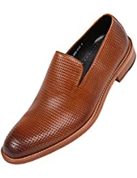 Mens Genuine Woven Embossed Leather Loafer, Slip-On Dress Shoe, Wood-Like Sole