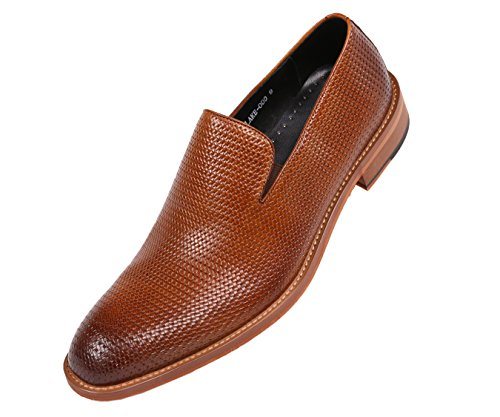 Asher Green Mens Genuine Woven Embossed Leather Loafer, Slip-On Dress Shoe, Wood-Like Sole, Style AG200 - Leather Sole Dress Shoes