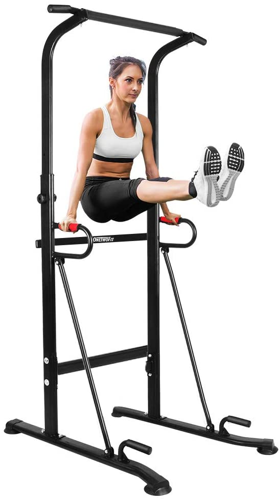 Multifunctional Pull Up Bar Standing Power Tower Dip Station Adjustable Height