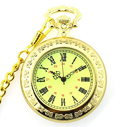 - Vintage Steampunk Retro Golden noctilucan Quartz Pocket Watch Open Face Classic Sculptured Fob Pocket Watch