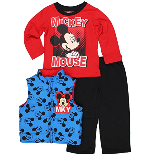 Boys 3 piece Vest Tee and Sweatpants Set (4T, MKY Blue/Red) ()