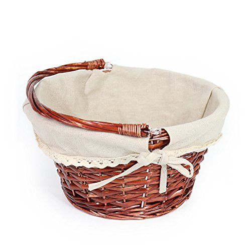 OYPEIP(TM)Father's Day Gift Basket Traditional Fashion Basket Kids Gift Basket Woven Willow Round Wicker Storage Basket With One Drop Down Handle Fabric Cotton Linen For Office, Bedroom, Closet, Toys by KRZIL (Image #7)