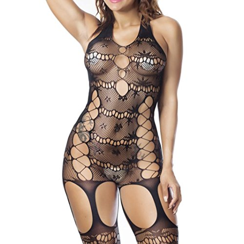 OO Womens Bodysuits Sexy Lingerie Fishnet Floral Babydoll Crotchless Nightwear (Black) (Sexy Lingerie Pregnancy)