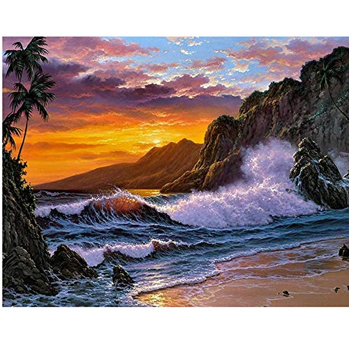 Handmade Counted Cross Stitch Kits Beach Scenery Embroidery Pattern DMC Cotton Thread Home Room Decor (Beach - Scenery Cross Stitch