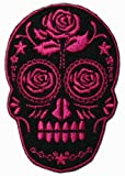 Candy Skull with Rose Embroidered Iron On Applique Patch