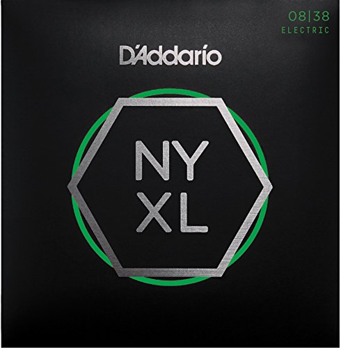 D'Addario NYXL0838 Nickel Plated Electric Guitar Strings,Extra Super Light,08-38 – High Carbon Steel Alloy for Unprecedented Strength – Ideal Combination of Playability and Electric Tone