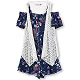 Speechless Big Girls' 2 Piece Cold Shoulder With Vest Romper, Navy Coral, L