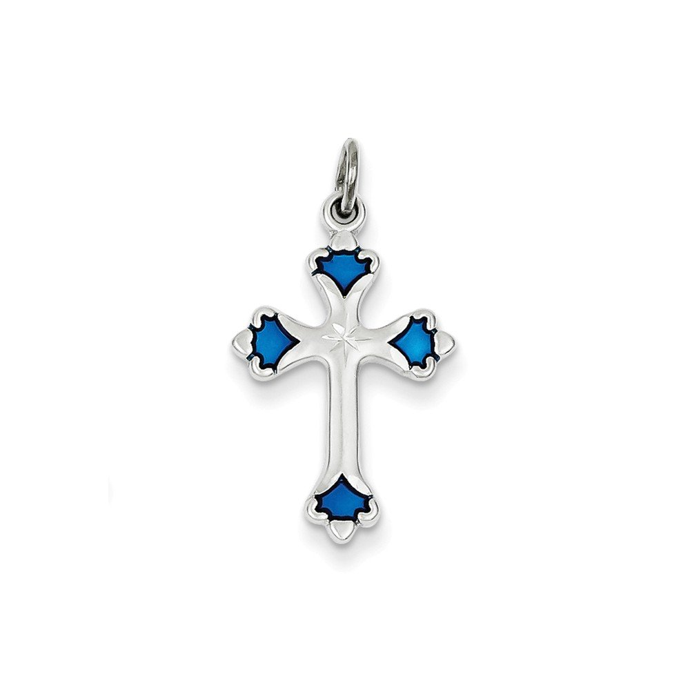Mireval Sterling Silver Blue Enameled Budded Cross Charm on a Sterling Silver Chain Necklace 16-20