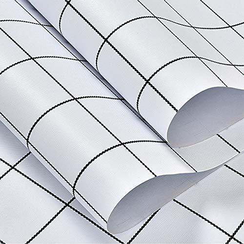 """JIWINNER 23.62"""" x 118"""" White Plaid Wallpaper"""