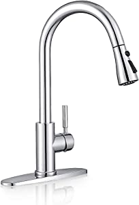 Sink faucet, pull down kitchen faucet with sprayer low lead commercial modern stainless steel rv farmhouse kitchen faucet single handle 1 or 3 hole kitchen sink faucet, Polished Chrome WEWE