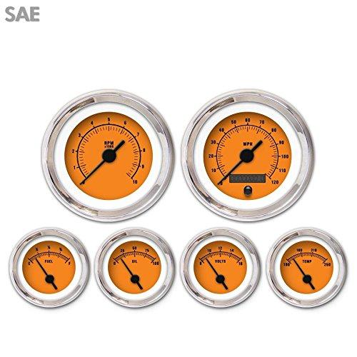 Aurora Instruments 3313 Rider Orange SAE 6-Gauge Set Black Vintage Needles, Chrome Trim Rings, Style Kit DIY Install