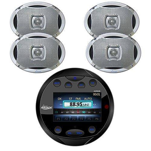 Lanzar AQR80B Round Aquatic Waterproof Marine Stereo in Dash Bluetooth Receiver - Black, 4X Lanzar AQ69CXS 6x9 Marine Water Resistant 2 Way 500 Watt Silver Speakers