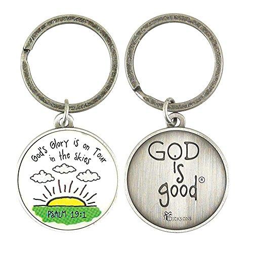 Psalm 19:1 Sunrise God is Good Antique Silver Finish Christian Key Ring Keychain (Sunrise Finish)