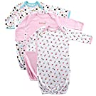 Luvable Friends 3-Pack Rib Knit Infant Gowns, Pink, 0-6 months