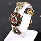 Sumanee New Bohemian Bracelet Women Alloy Agate Red Resin Bangle Retro Roman Jewelry