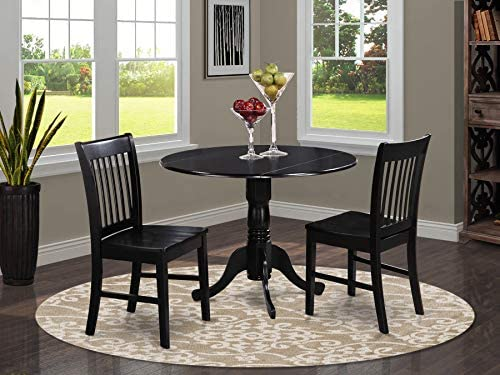 picture of DLNO3-BLK-W 3 Pc small Kitchen Table and Chairs