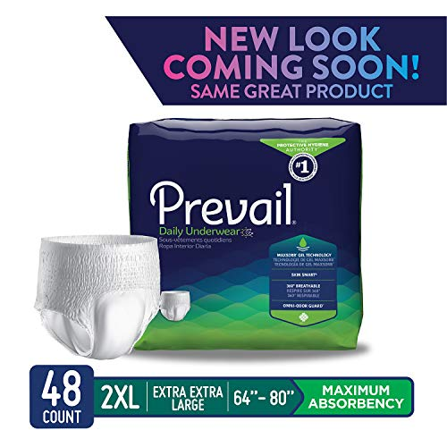 (Prevail Maximum Absorbency Incontinence Underwear 2X-Large 12 Count (Pack of 4) Breathable Rapid Absorption Discreet Comfort Fit Adult Diapers)