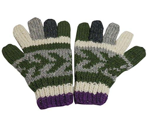 【ノーブランド品】 アジアン衣料 男女兼用 ネパール手編みウール手袋 NGL-21