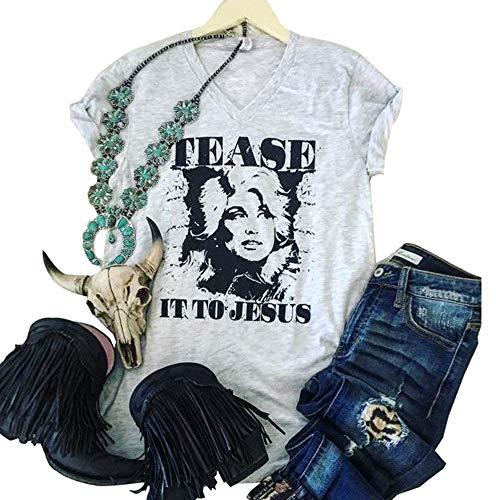 HDLTE Women T-Shirts Dolly Parton Shirt Guts Grits and Lipstick Cute Graphic Country Music Tees (S, Gray)