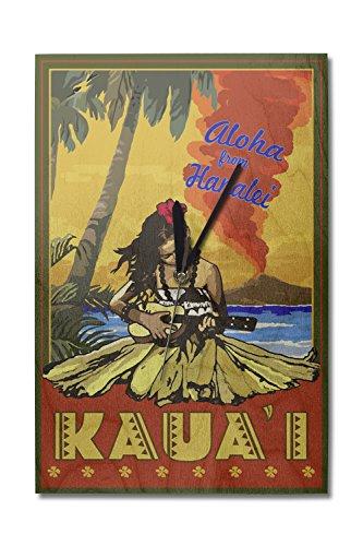 (Lantern Press Kauai, Hawaii - Aloha from Hanalei - Hula Girl and Ukulele (10x15 Wood Wall Clock, Decor Ready to Hang) )