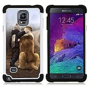 /Skull Market/ - Dog Cute Puppy Pet Paws For Samsung Galaxy Note 4 SM-N910 N910 - 3in1 h????brido prueba de choques de impacto resistente goma Combo pesada cubierta de la caja protec -