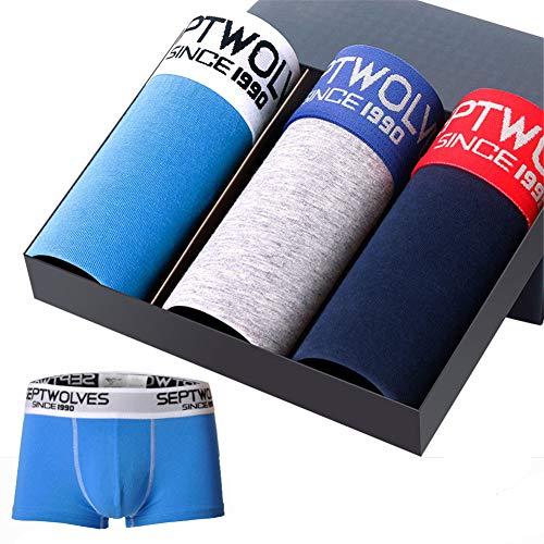 yutu 4 Paquetes, Ropa Interior de los Hombres, algodón Boxer de algodón Absorbente de Sudor, Pantalones Cortos Transpirables, E-2Xl: Amazon.es: Ropa y ...