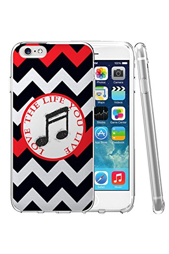 Hard Protective Apple Iphone 6 Plus Case Cover 5.5 Inch Creative Funny Black Music Note Black Red Chevron Pattern Life Quote Love the Life You Live