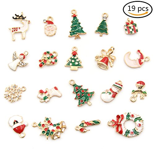 JUNKE 19 PCS Pop Christmas Pendant Ornaments for Necklace Charms Jewelry Making Xmas Gifts DIY (Christmas Mini Charms)