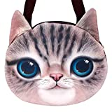 IEnkidu Handbags for Women, Cute 3D Cat Head Travel Single Shoulder Straps Crossbody Messenger Handbag Zipper Tote Bag Large